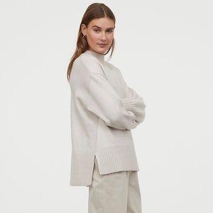 H&M Knit Sweater in Light Beige Melange